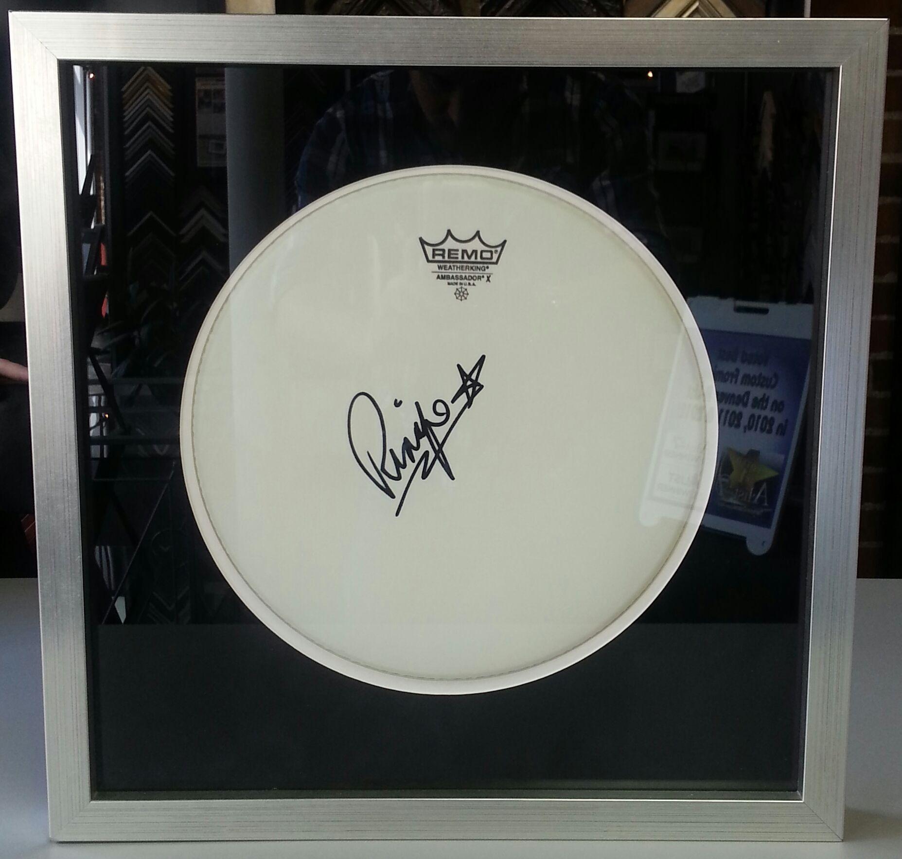 Custom framed Ringo Starr drum head. Custom framed by FastFrame of ...