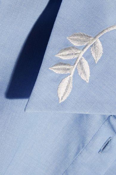 Mary Katrantzou - Doric Embroidered Poplin Top - Light blue - UK12