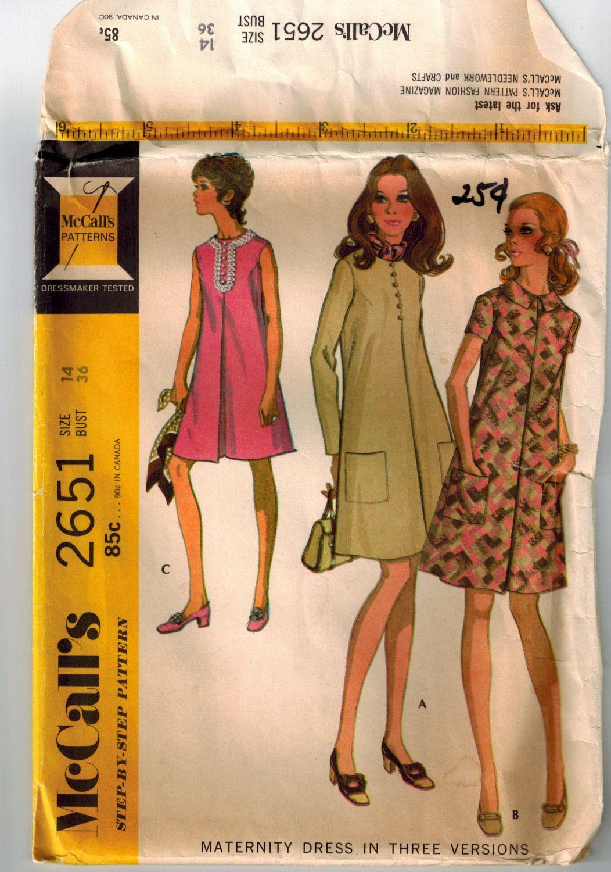 Vintage 70s Maternity Dress Sewing Pattern Sz 14 Bust 36