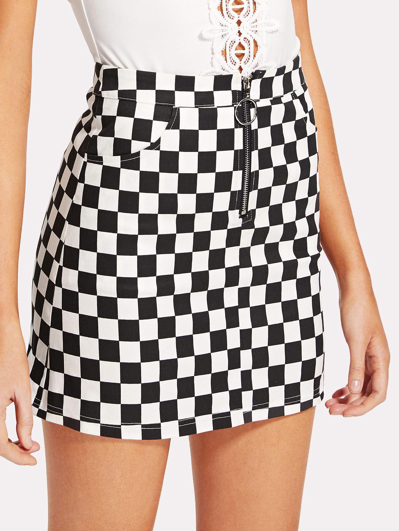0311760e28db O-Ring Zipper Front Plaid Skirt -SheIn(Sheinside) | Clothxsnkaa in ...