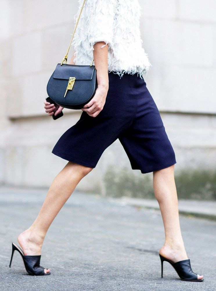 bermuda shorts + feathery top + killer heels