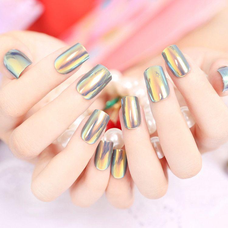 Yunail Fashion 24pcs Long Fake Nails Multiple Color Reflective ...
