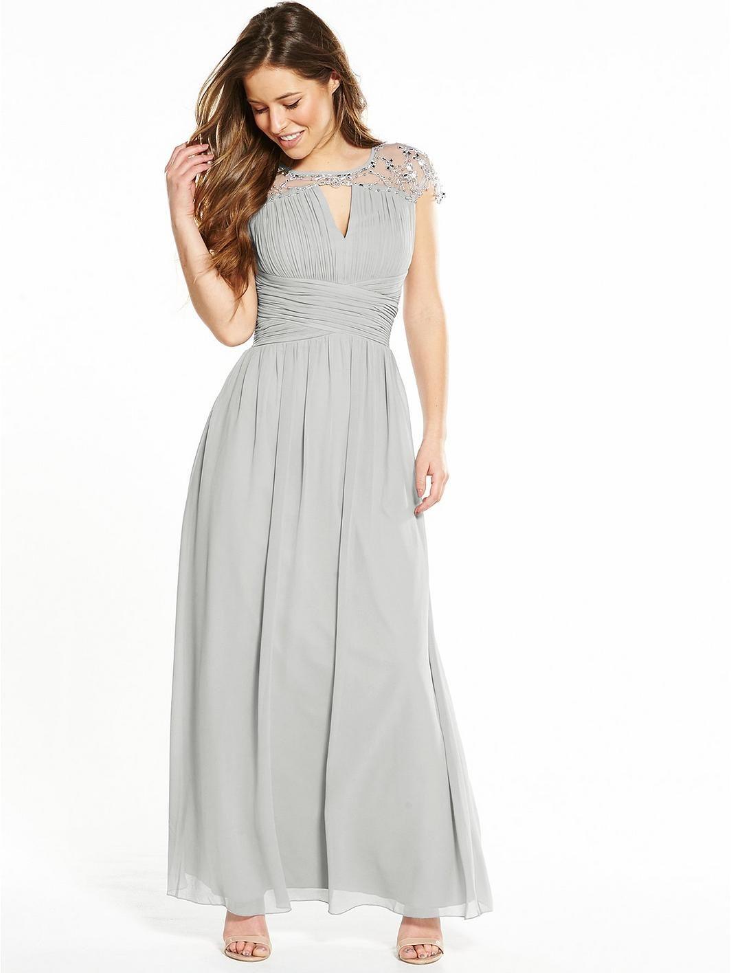 Little Mistress Petite Waterlily Embellished Maxi Dress - Grey, http ...