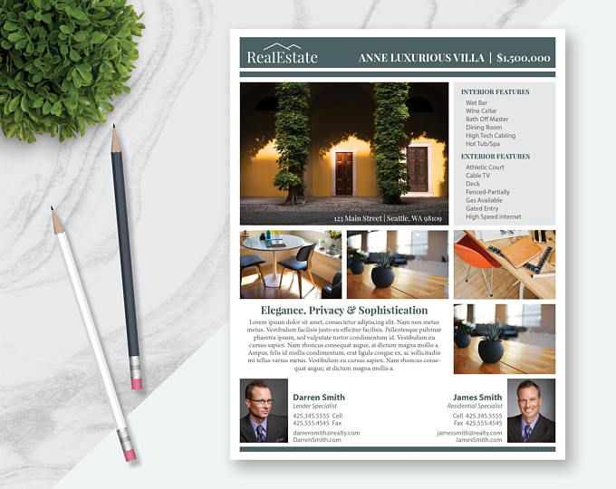 Real Estate Flyer Template 5 Photos Single Sided Pages - powerpoint brochure template