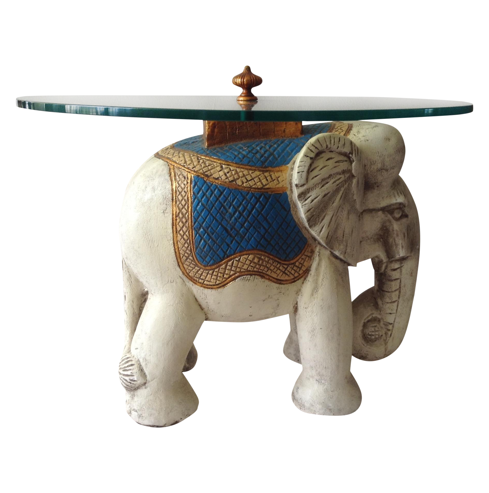 Hollywood Regency 1940s Elephant Glass Top Table