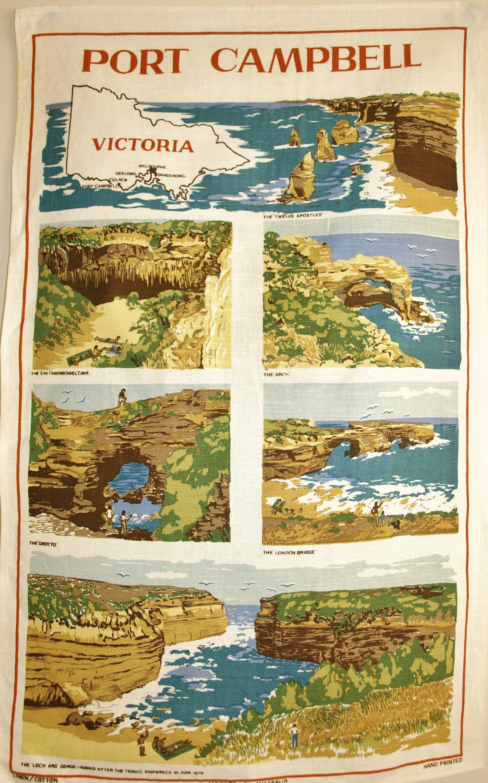Port Campbell Victoria Tea Towel Vintage Retro Twelve Apostles Australia Souvenirs Unused By Funkykoala On Tea Towels Vintage Coffee Pot Towel Collection