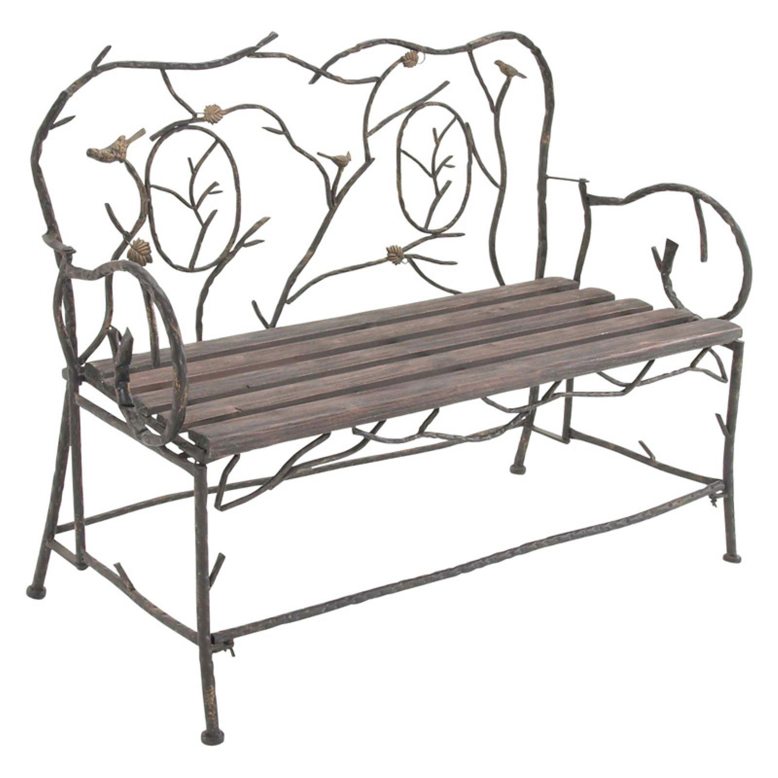 Outdoor Decmode Birds And Leaves 46 In Wrought Iron Garden Bench
