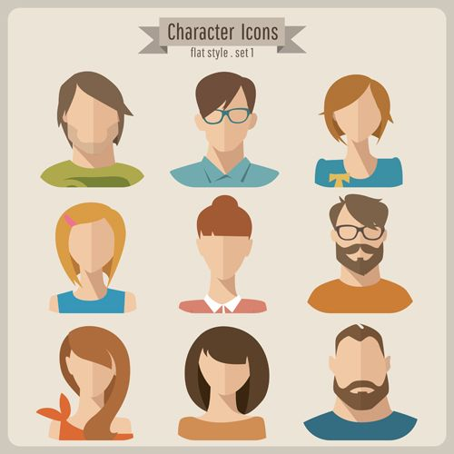 Character Design Vector Free Download : Flat style character icons vector material download