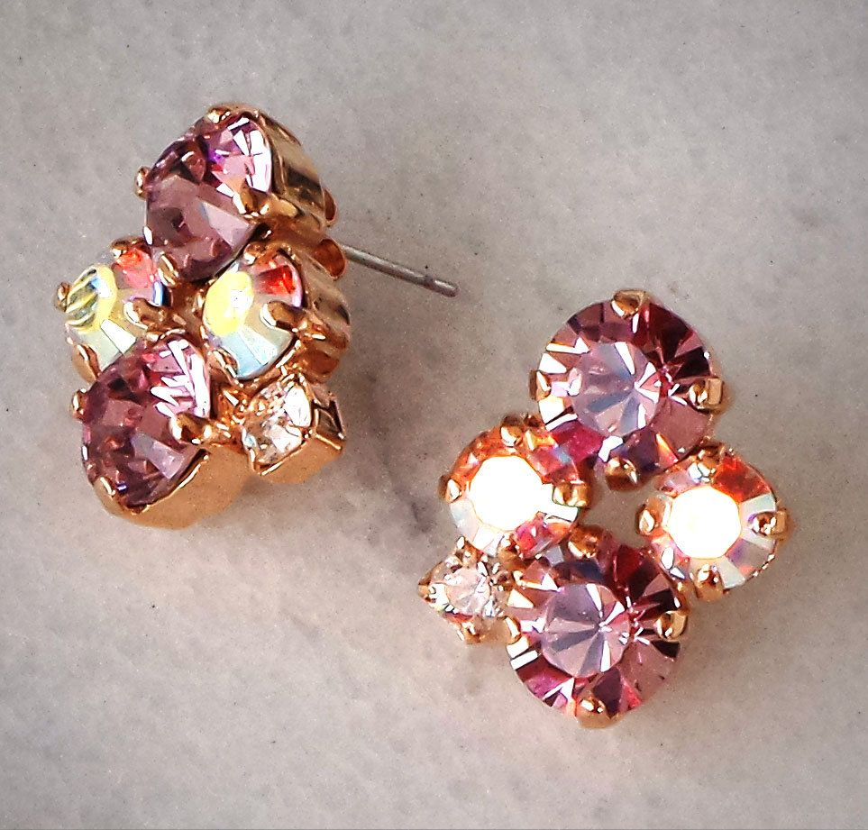 Swarovski Crystal fancy multi-stone light amethyst and clear crystalAB stud earrings,rose gold plated setting by CrystallizedByLena on Etsy