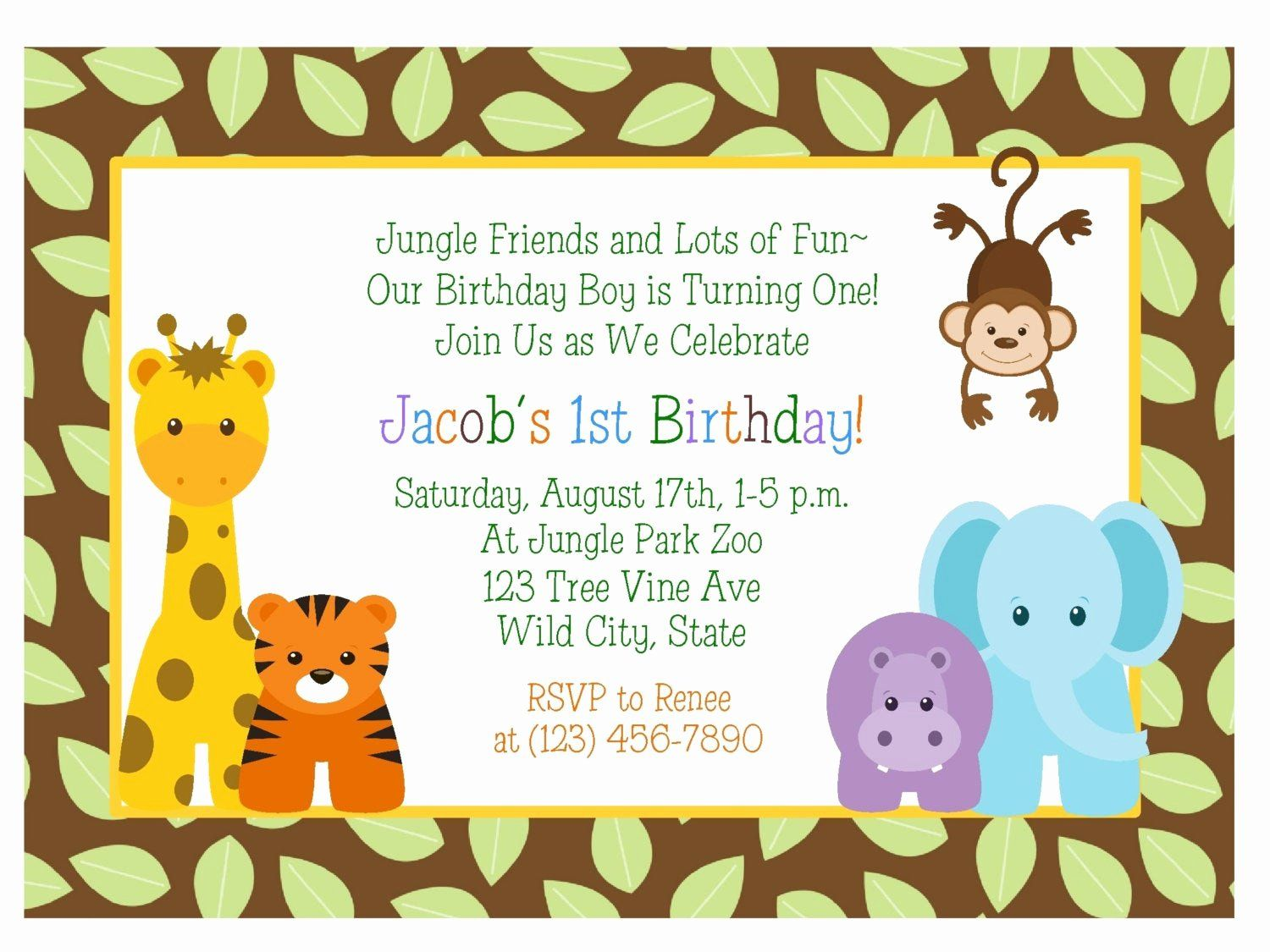 Safari Invitation Template Free Lovely Jungle Animals 5st Birthday