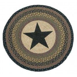 Round Black Star Rug Sturbridge Yankee Work
