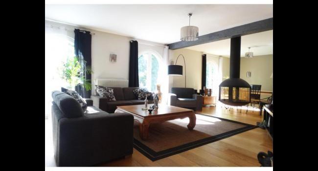Salon moderne parqueté avec cheminée suspendue. Allez on clique sur ...