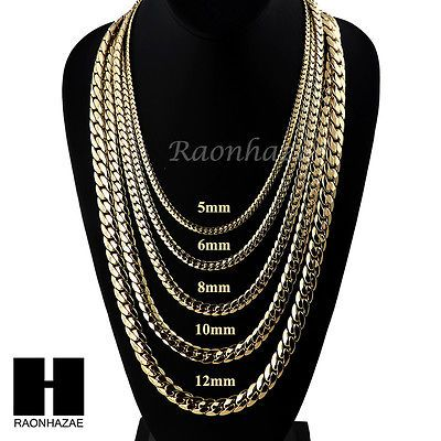 Heavy Miami Cuban Yellow 14k Gold Plated 5 to12mm ca9bdd84ee
