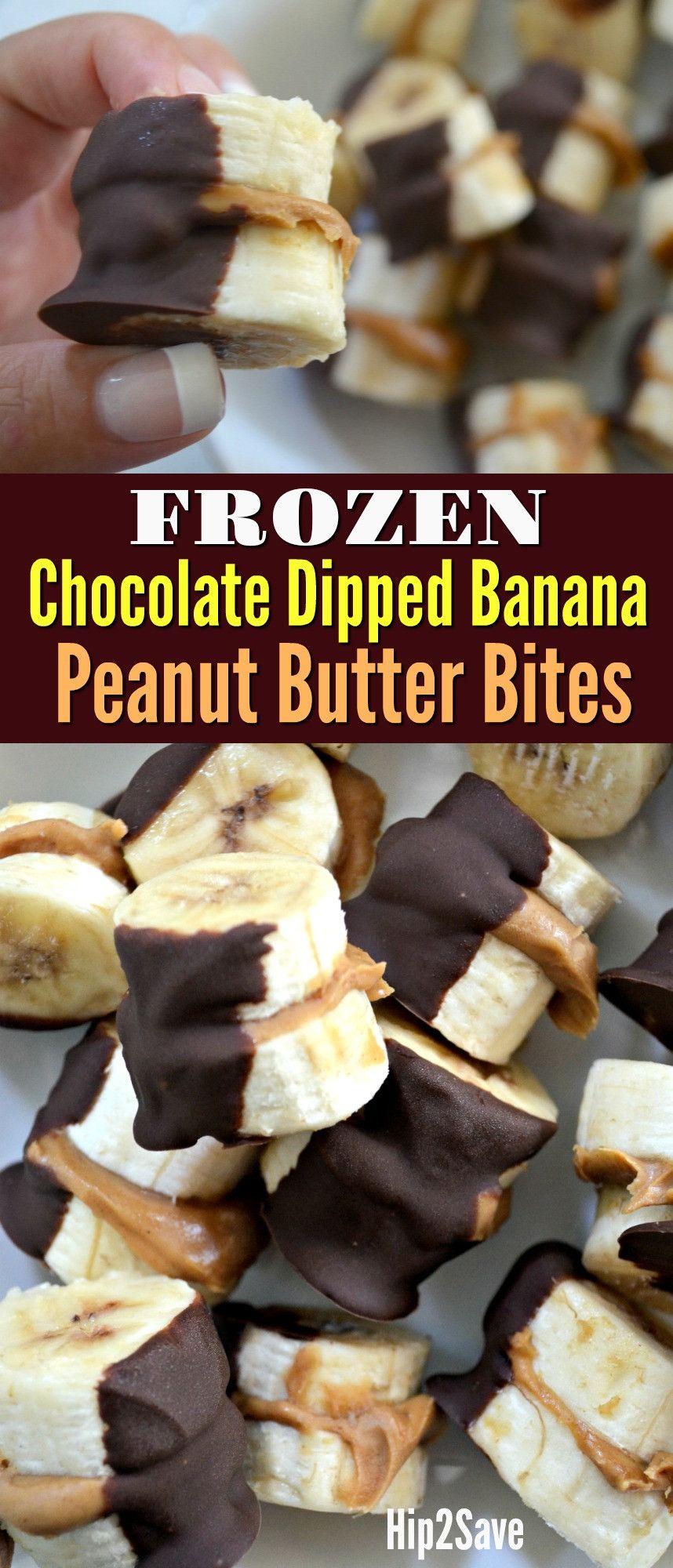Frozen Chocolate-Dipped Peanut Butter Banana Bites