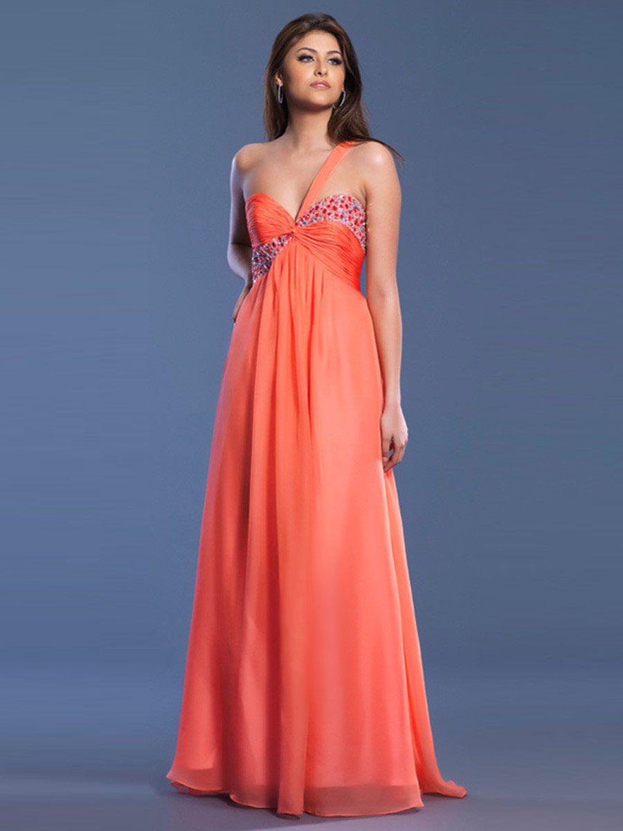 One Shoulder Chiffon A-line Floor-length Dress at dressestylish.com ...