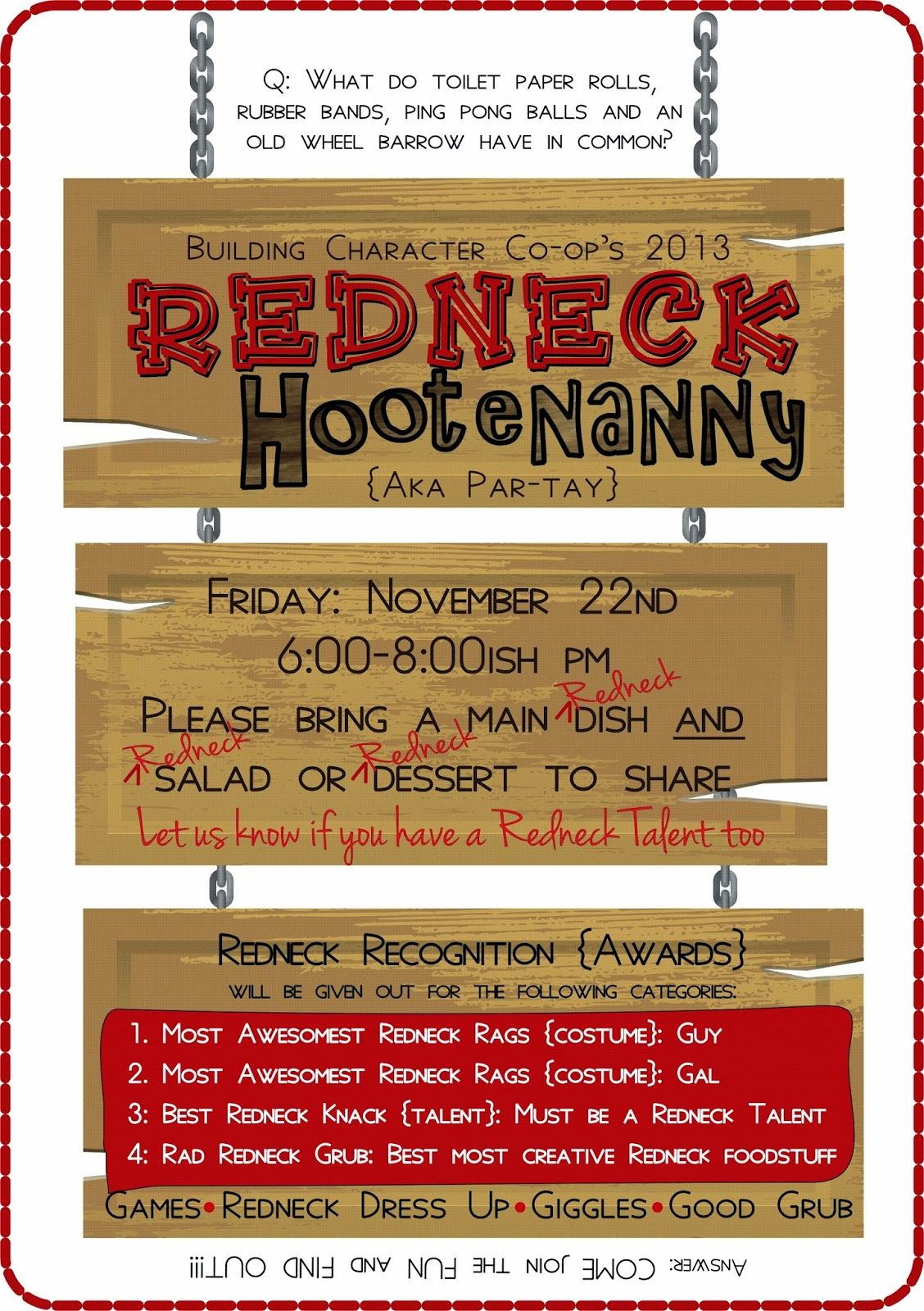 SUBLIMEliving Family Redneck Hootenanny Party Planning A night – Trailer Trash Party Invitations
