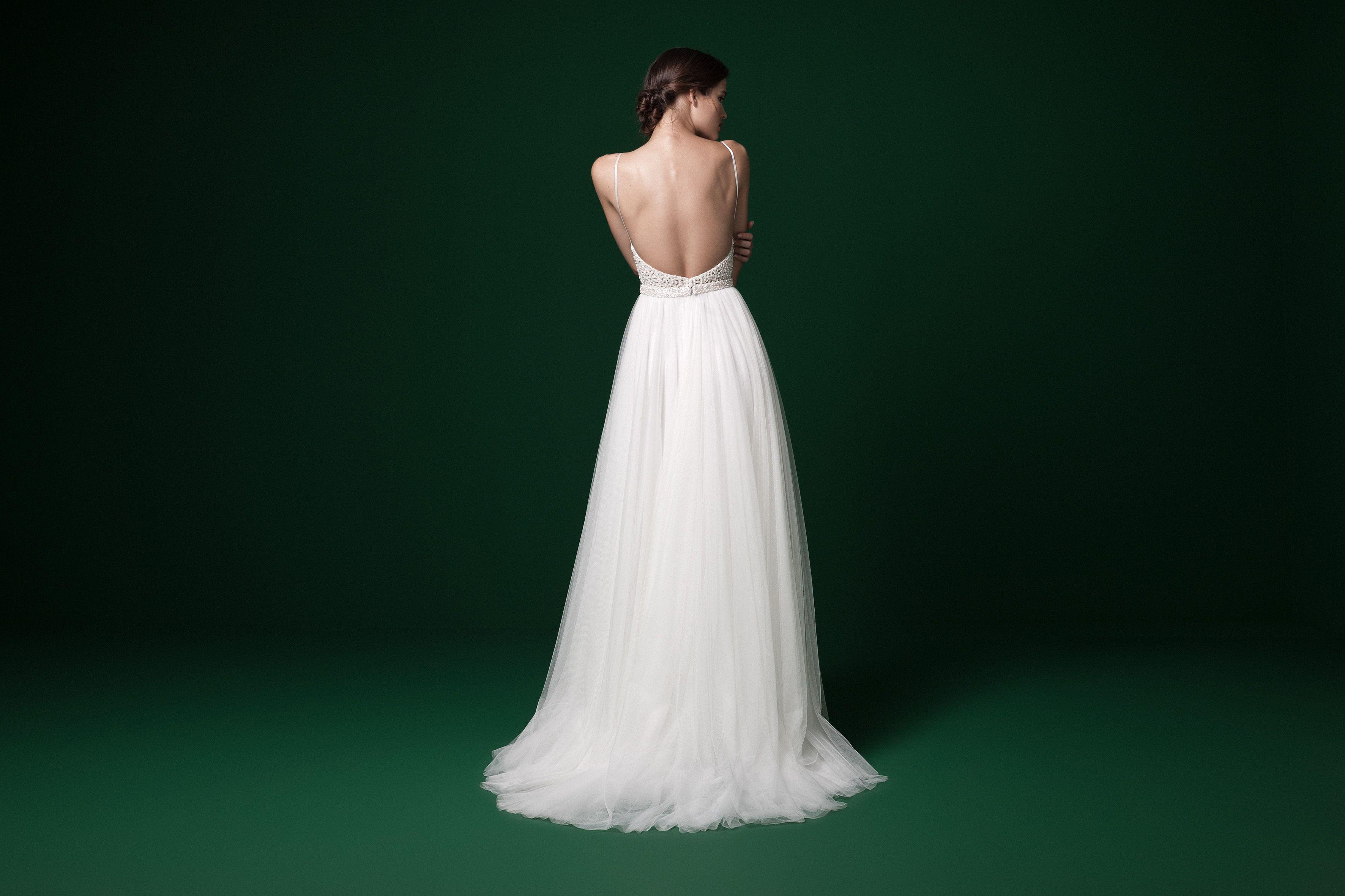 4c66ddaa378c Daalarna Couture | PRD 246 | Available at Sash & Bustle  #openbackweddingdress #thinstraps #uniqueweddingdress #silktulleskirt  #romanticbride #indiebride # ...