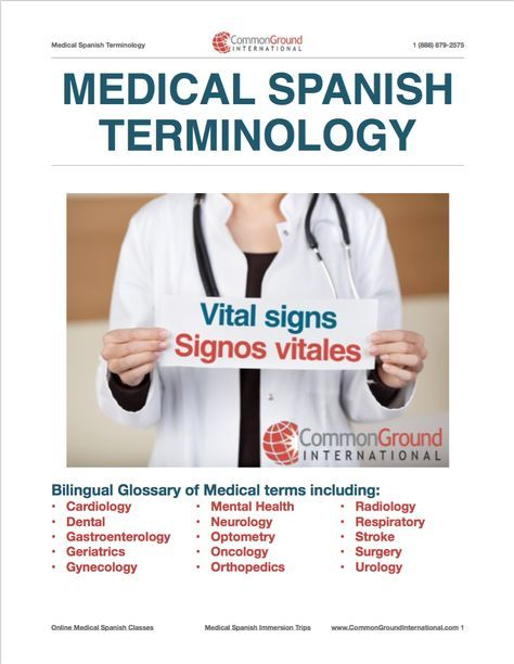 Medical Terminology in Spanish - Free Glossary! | Medical, Spanish ...