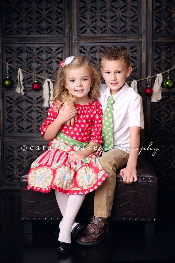 Brother and Sister Matching Christmas Outfits by mellonmonkeys Etsy. - Brother And Sister Matching Christmas Outfits- Girls Peasant Dress