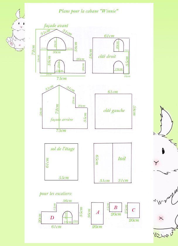 Tutoriel 1  Construction d\u0027une cabane/maison en carton pour lapin - Plan De Construction D Une Maison