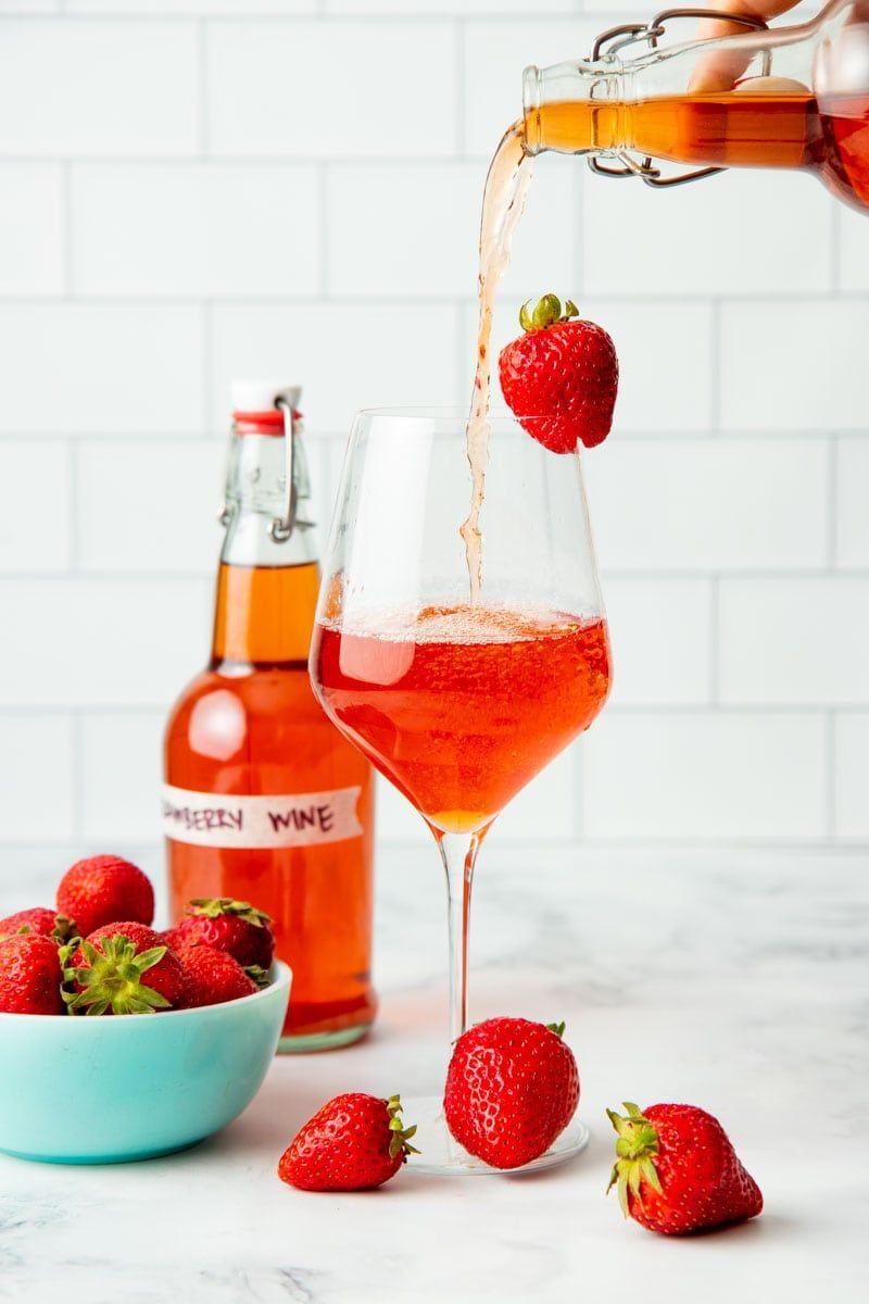 Homemade Strawberry Wine Recipe In 2020 Strawberry Wine Wine Dry Wine