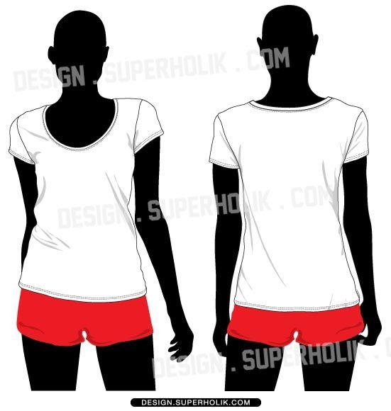 Women\'s T-shirt vector template set $7.25 | Fashion Vector Templates ...
