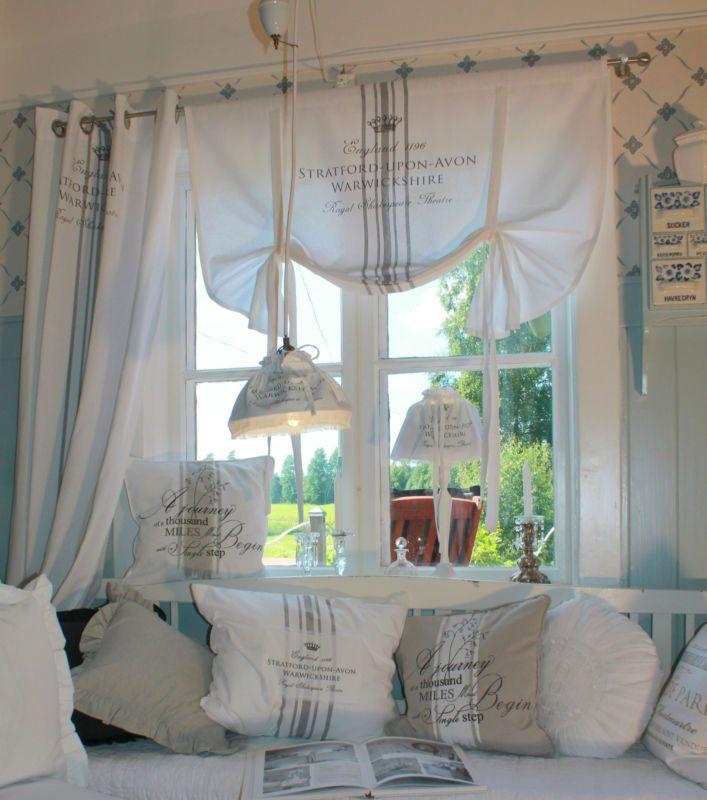 Lillabelle Stratford Weiss Grau 80x100 Rollgardine Rollo Franske Vintage Shabby Gardinen Wohnzimmer Haus Deko Gardinen