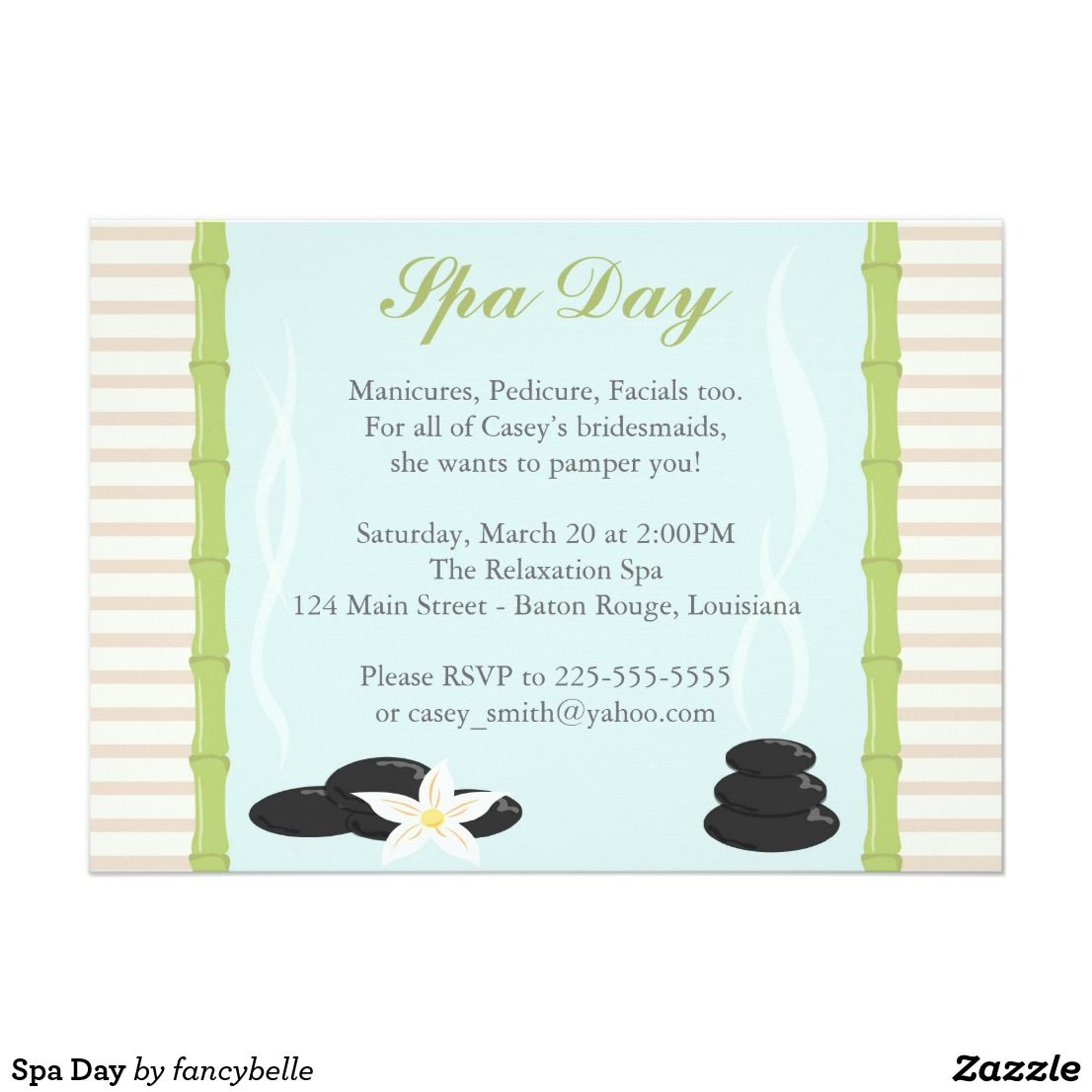 Spa Day Invitation Zazzle Com Spa Day Invitations Bridal Shower Invitations