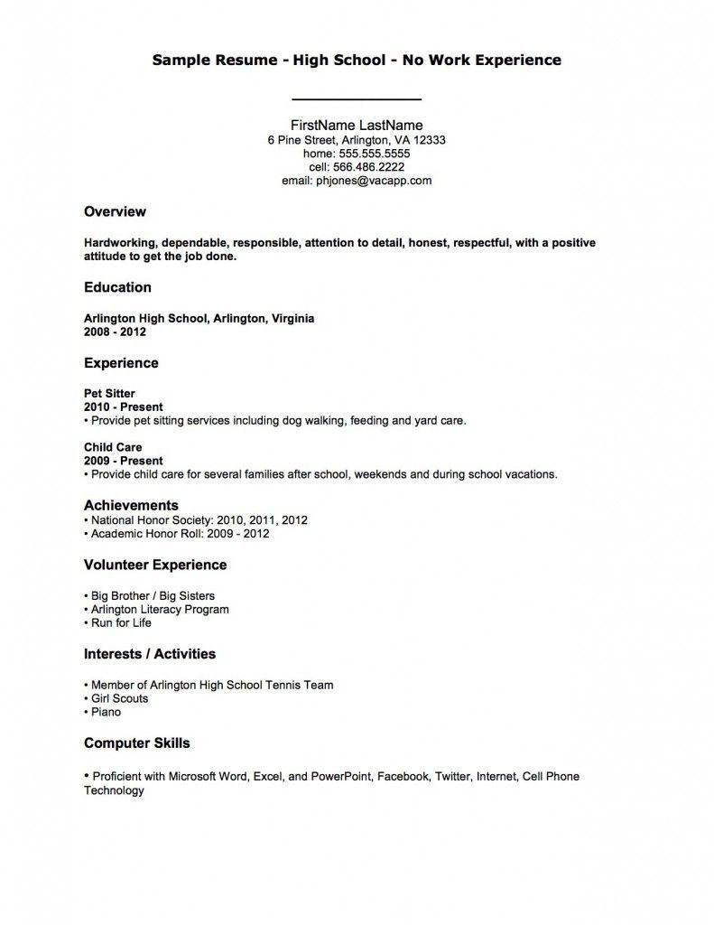 Sample Resume High School No Work Experience First Job Resume
