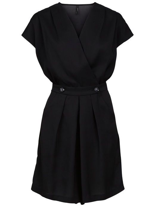 BUTTON WRAPPED PLAYSUIT, Black