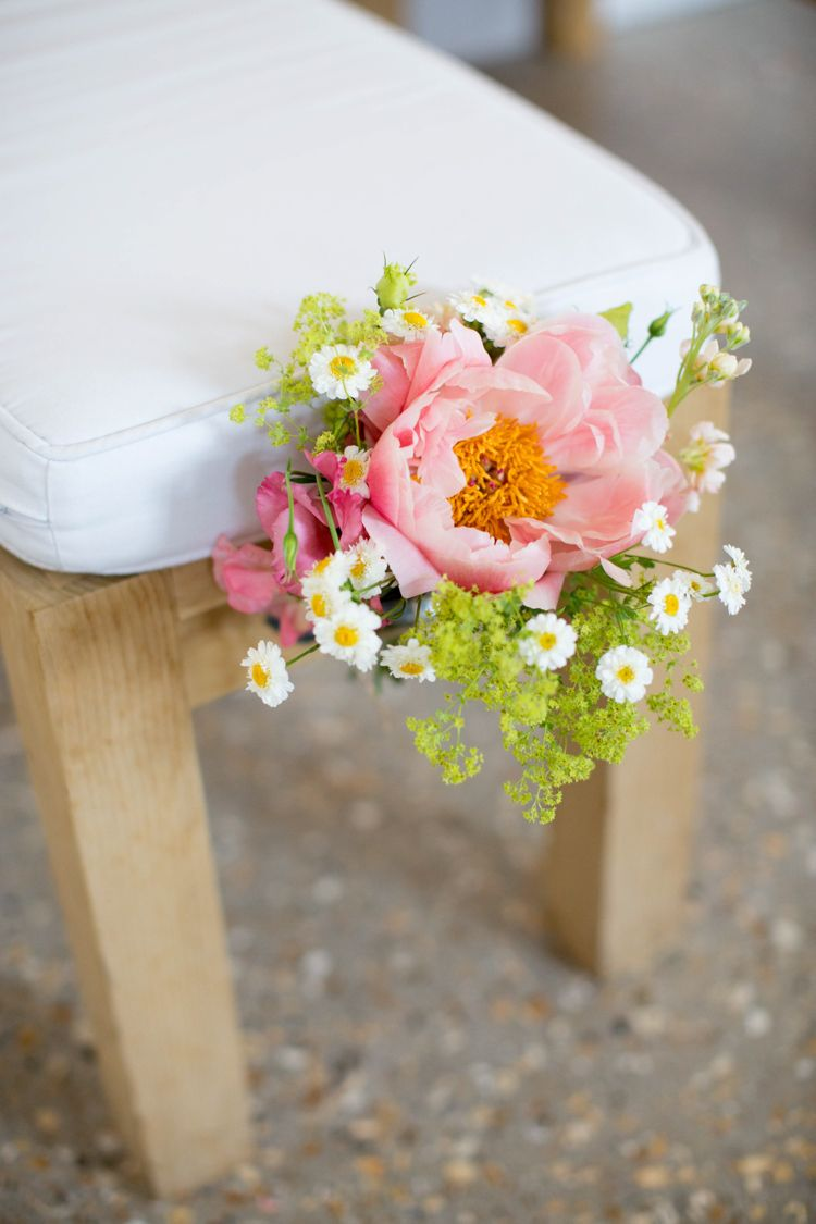 Flowers Chairs Daisies Roses Coral Peonies Yellow Pink Fresh Fun