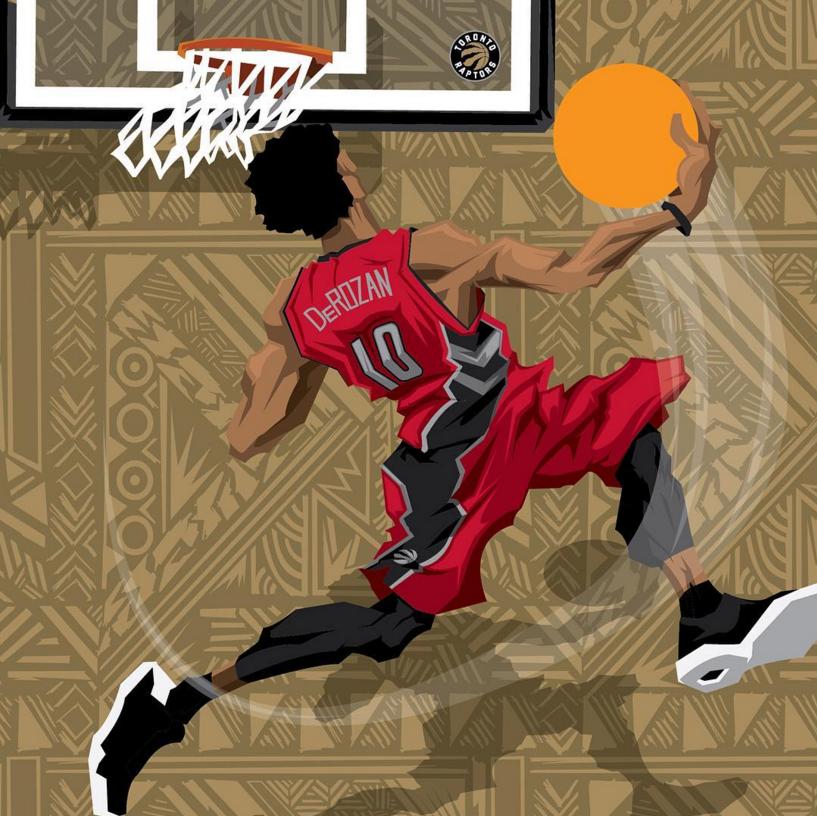 Demar Derozan Sneak Attack Caricature Art Basketball Art Nba Art Street Basketball