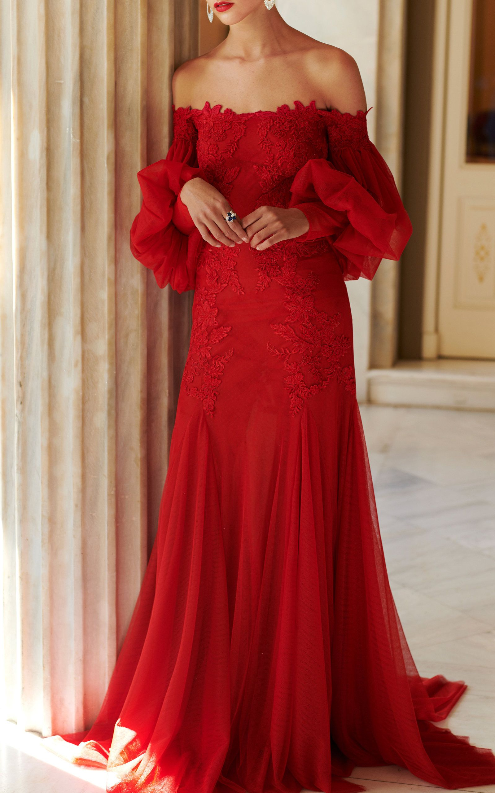 Costarellos Off The Shoulder Tulle Lace Gown | Red Hot Mama ...