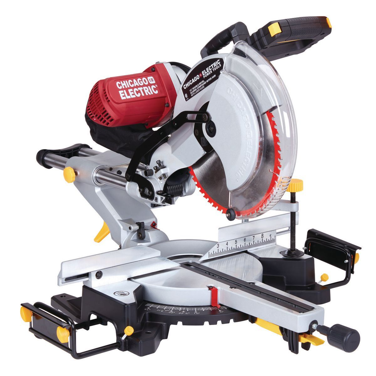 12 In Dual Bevel Sliding Compound Miter Saw With Laser Guide System In 2020 Sliding Compound Miter Saw Miter Saw Compound Mitre Saw