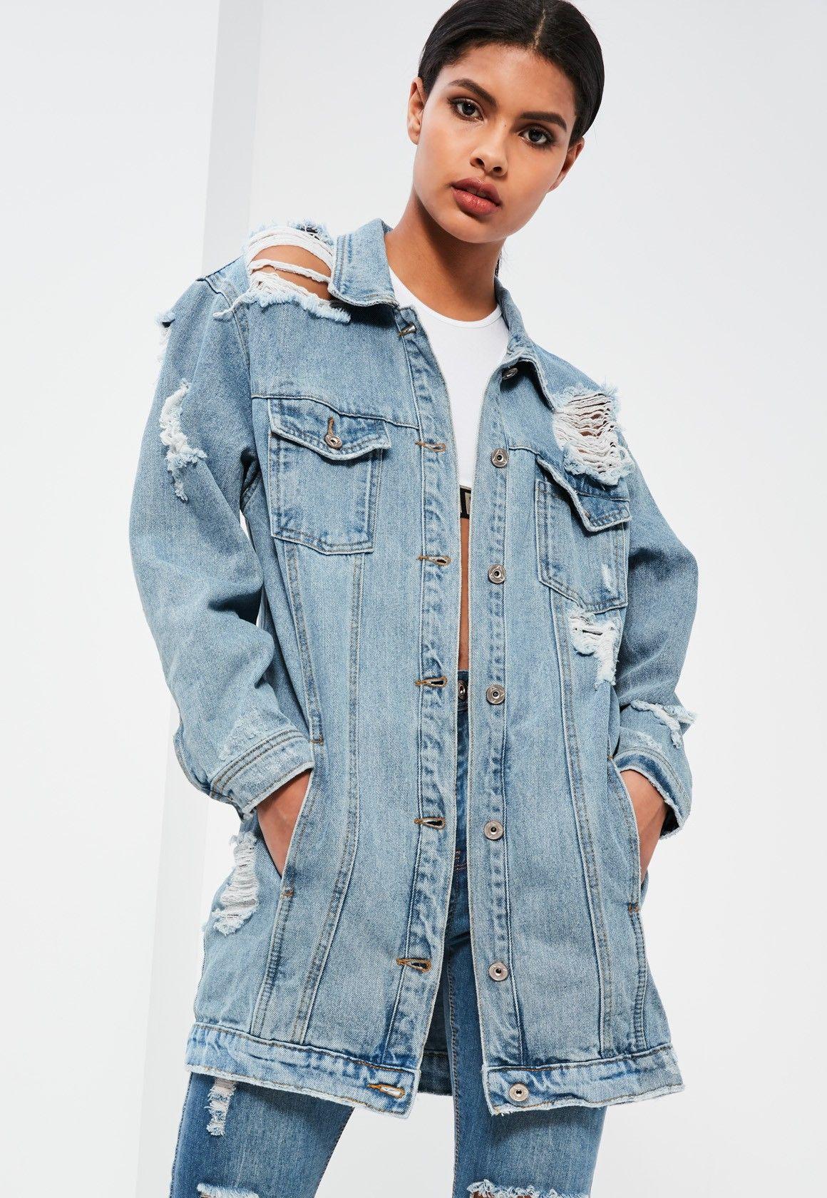 33401ba81abc7 Missguided - Blue Ripped Longer Length Denim Jacket