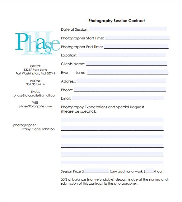 Photography Contract 7 Free Pdf Download Photography Contract Photography Session Photography Pricing