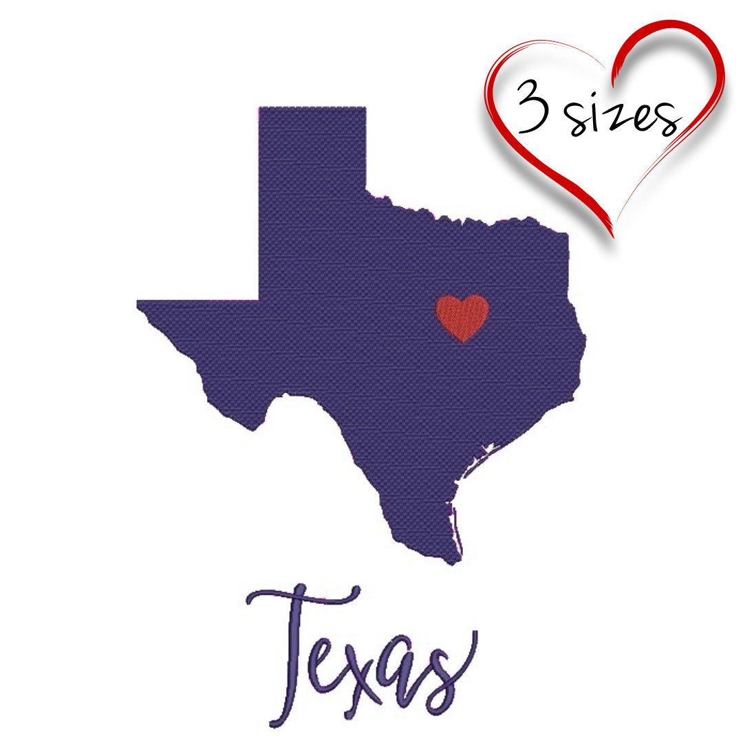 Machine Embroidery Design Texas State Heart Usa Designs