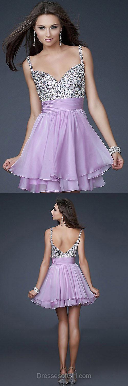 Sweetheart Prom Dress, Short Prom Dresses, Chiffon Homecoming Dress, Lilac Homecoming Dresses, Sequined Cocktail Dresses