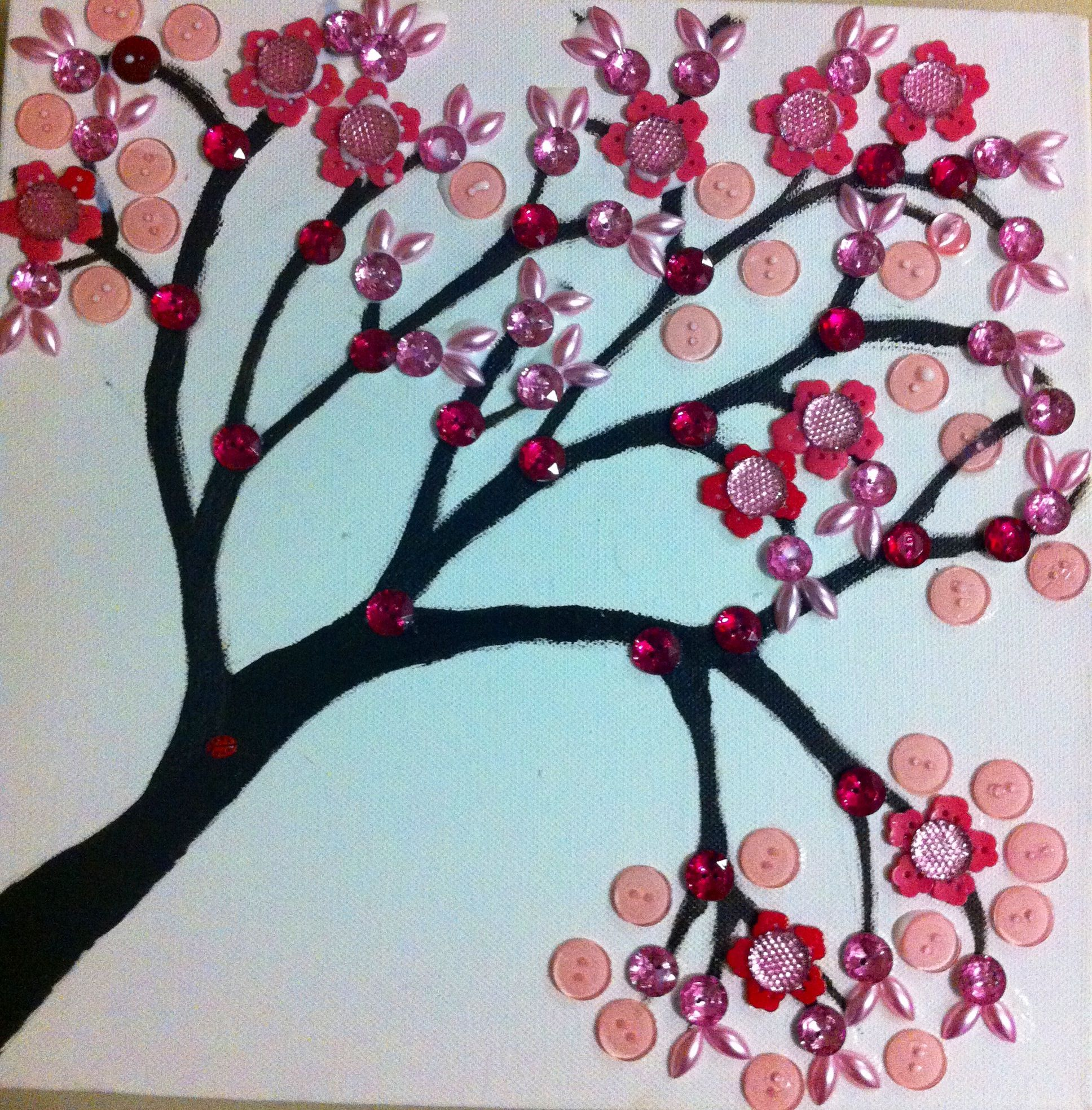 Cherry Blossom Button Tree Made On Canvas For The Home