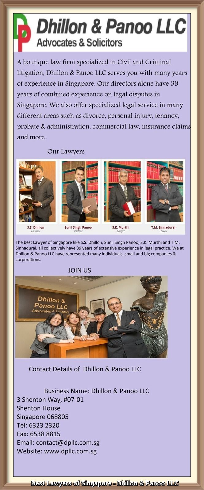 The best Lawyer of Singapore like S S  Dhillon, Sunil Singh