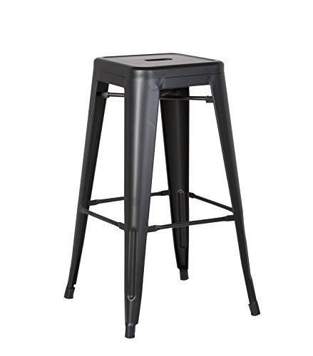 Ac Pacific Steel Barstool 24 Matte Black With No Back Set Of 2 Bar Stools Industrial Bar Stools Counter Stools Backless