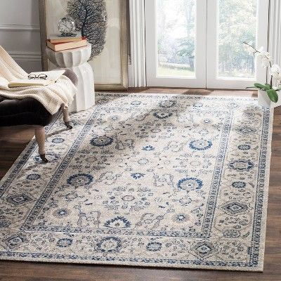 Oliver Zero Pile Area Rug Light Gray Ivory 5 1 X 7 6 Safavieh Size 5 1 X7 6 Light Gray Ivory Traditional Area Rugs Rugs Area Rugs