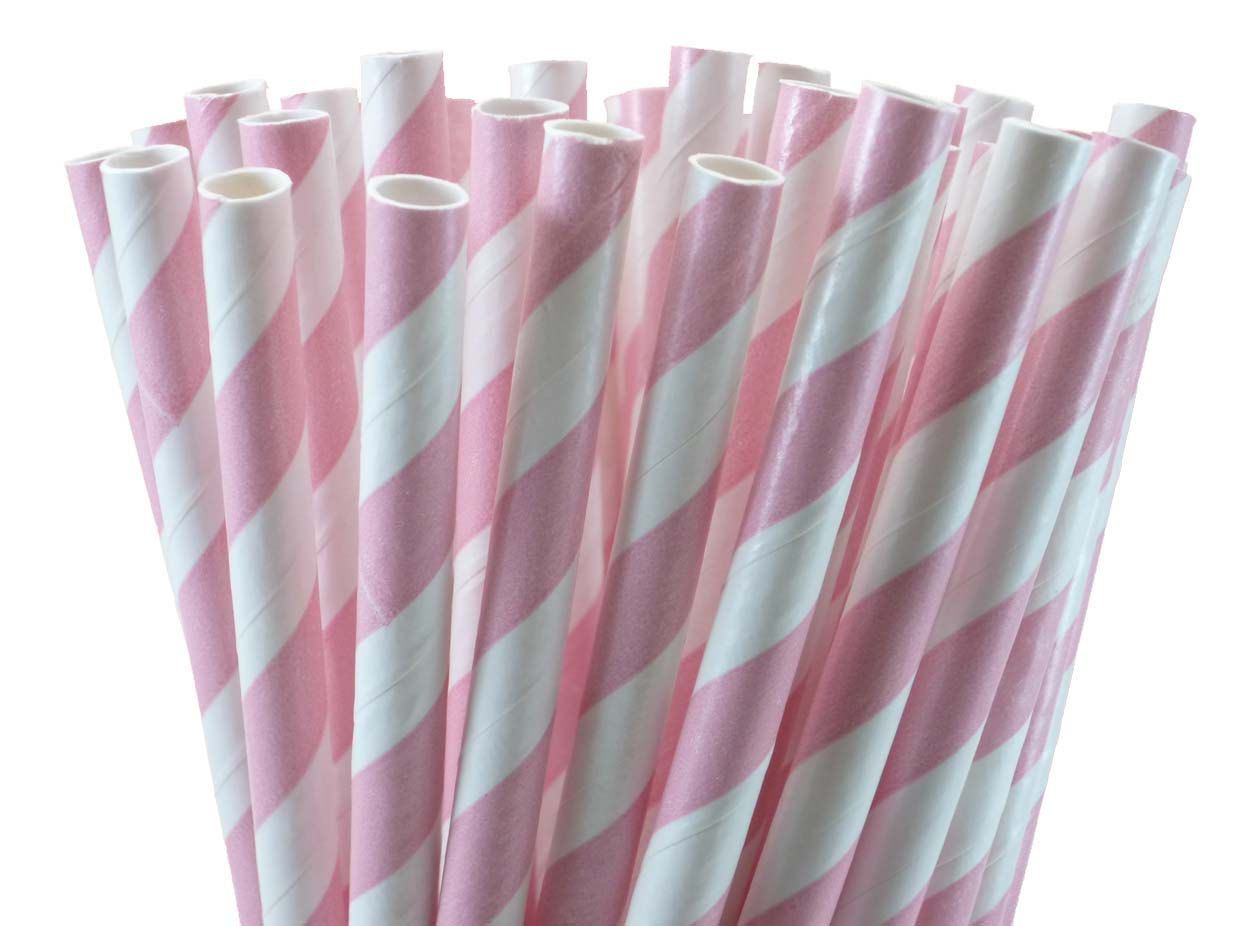 Light Pink Paper Drinking Straws with Printable DIY Flag Toppers