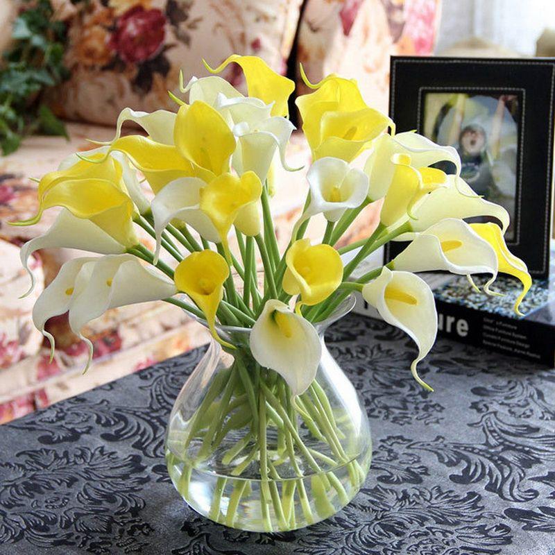 10pcs! Calla lily flower christmas artificial flowers pu feel Mini Calla lily single decorative calla lily bouquet Lilie bloem