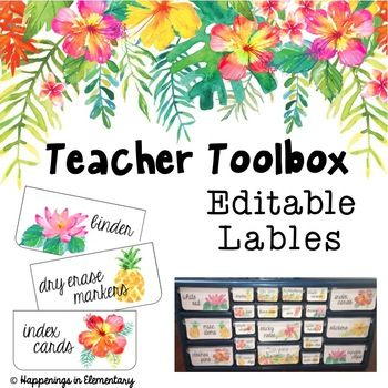 These tropical themed toolbox labels are the perfect addition to brighten up your teacher toolbox. This product comes with 35 pre-made labels as well as labels that you can edit yourself to personalize your toolbox to your individual needs.* There are a total of 35 different labels.