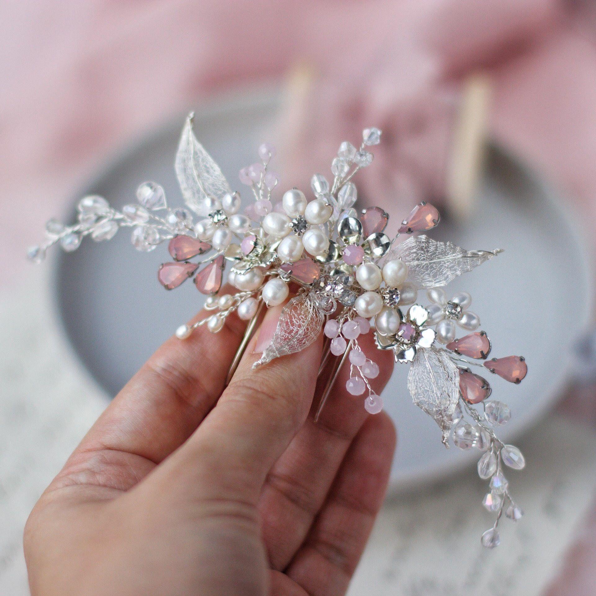 Bridal hair comb Wedding flower hair comb Bridal silver ...