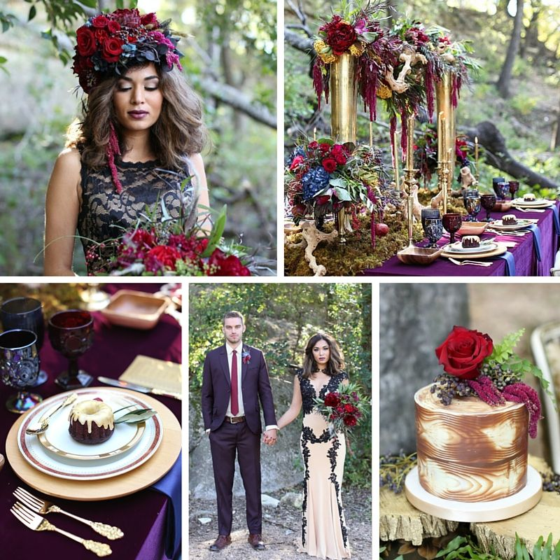 Fall Vintage Wedding Ideas: Glamorous Fall Wedding Inspiration With Lavish Marsala