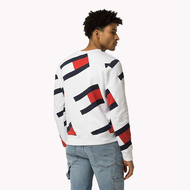 2a1c97ecb Tommy Hilfiger All-over Flag Sweatshirt - classic white (White) - Tommy  Hilfiger Sweatshirts - detail image 1
