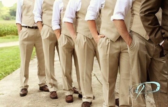 Love This Idea Khaki Vest And Pants For Groomsmen Brown Suit Groom