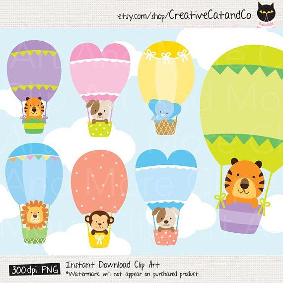 Animal In Hot Air Balloon Clipart Hot Air Balloon Animal Etsy Baby Clip Art Hot Air Balloon Clipart Balloon Clipart
